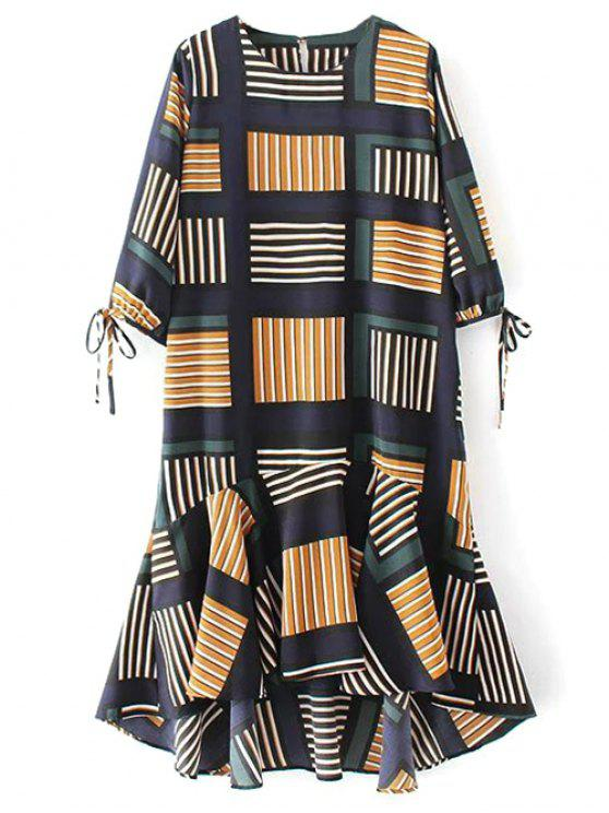 Vestido Media Pierna Midi Volantes Estampado Geo - Multicolor M