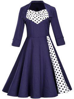 Robe Ajustée Et évasée à Pois Vintage  - Bleu Violet 2xl