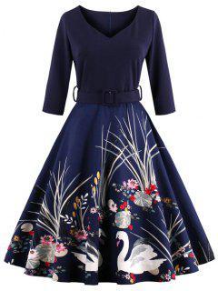 Vintage Printed Fit And Flare Waisted Dress - Purplish Blue M
