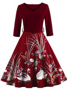 Vintage Printed Fit And Flare Waisted Dress - Burgundy L
