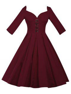 Lace Up Bowknot Vintage Swing Dress - Dark Red 3xl