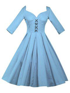 Lace Up Bowknot Vintage Swing Dress - Light Blue L