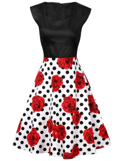 Polka Dot Floral Knee Length Flare Dress - Black And White And Red S