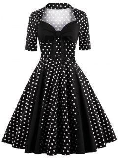 Sweetheart Neck Polka Dot Vintage Dress - Black Xl