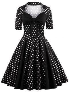 Robe Vintage Mi-longue à Pois Avec Décolleté Cœur - Noir Xl