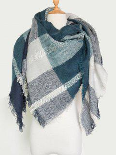 Plaid Pattern Fringed Knit Blanket Scarf - Purplish Blue