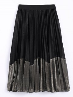 Color Block Velvet Pleated Skirt - Black And Golden