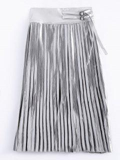 Zippered Pleated Midi Skirt - Silver