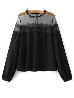 Mesh Lace Panel Blouse - Black Xs