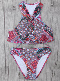 Patterned Lace Up Bikini Set - L