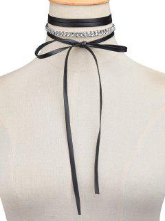 Faux Leather Wrap Choker - Silver