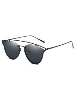 Crossbar Metal Butterfly Sunglasses - Black