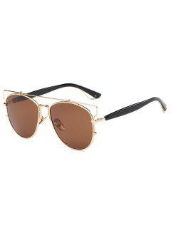 Crossbar Metal Sunglasses - Tea-colored