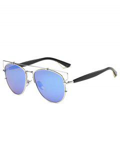 Crossbar Metal Mirrored Sunglasses - Ice Blue