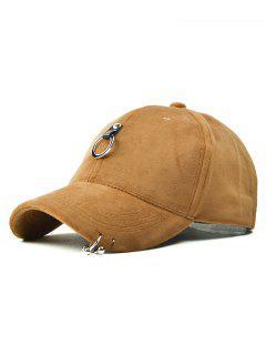 Hip Hop Pleuche Baseball Hat With Alloy Hoop - Khaki