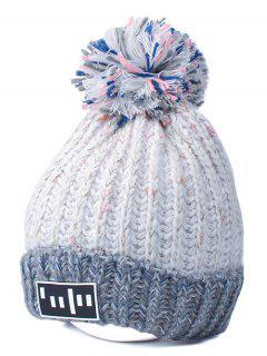 Gorro Cable Tejido Bloque Color Pompón Con Etiqueta - Blanco