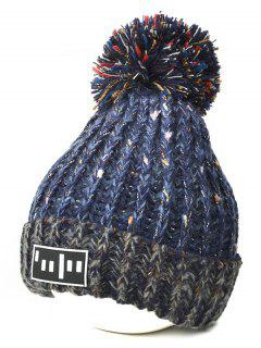 Color Block Cable Knit Pom Hat With Labelling - Cadetblue