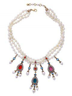 Teardrop Artificial Gem Pearl Necklace - White