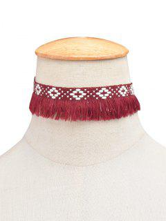 Fringed Woven Choker - Wine Red