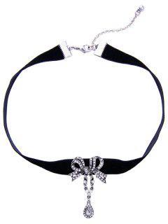 Arcos En Forma De Lágrima Del Rhinestone Collar Gargantilla De Terciopelo - Negro