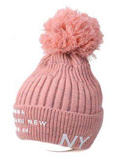 Knit Ribbed Pom Hat With NY Rubber - Pink