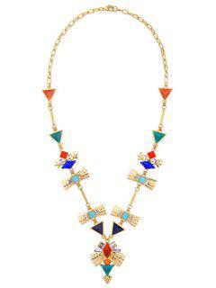 Collier à Pull Orné De Faux Diamants Et Turquoise Géométriques - Or