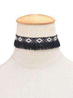 Collier Ras Du Cou Tricoté Avec Franges - Noir