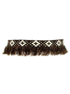 Fringed Woven Choker - Brown