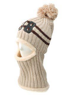 08 Embroidery Thicken Warm Neck Knitted Pom Hat - Beige