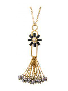 Flower Fringed Beads Rhinestone Sweater Chain - Black