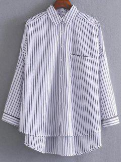 High Low Striped Pocket Shirt - Stripe S