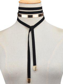 Metal Insert Wrap Choker - Black