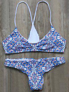 Ruched Geometric Cutout Bikini Set - Blue L