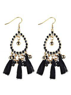 Geometrical Bohemian Tassel Drop Earrings - Black