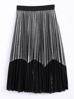 Color Block Velvet Pleated Skirt - Silver And Black