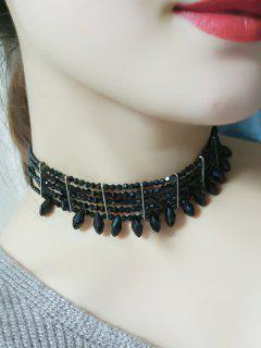Beaded Choker Necklace - Black