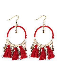 Geometrical Bohemian Tassel Circle Drop Earrings - Red