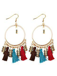 Geometrical Bohemian Tassel Circle Drop Earrings - Brown