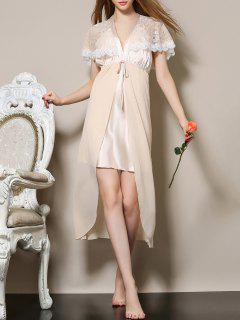 Plunging Neck Satin And Lace Babydoll - Apricot M