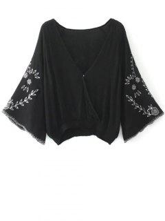 Linen Embroidered Surplice Blouse - Black M