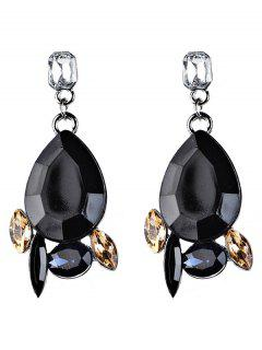 Artificial Gems Embellished Water Drop Dangle Earrings - Black