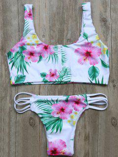 Cutout Half Zip Floral Bikini Set - White S