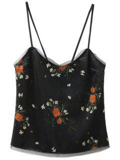 Cami De Terciopelo En La Impresión Floral - Negro S