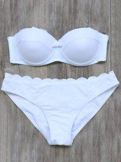 Bretelles Festonné Bikini - Blanc S