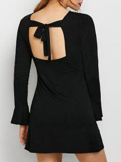 Flare Sleeve Cut Out Dress - Black S