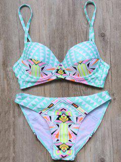 Color Block Jagged Imprimer Slip Bikini - Turquoise M