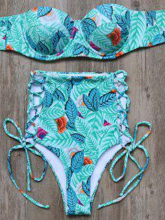 Lace Up Leaf High Waisted Bikini Set - Green S