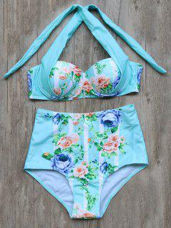 Tied Floral High Waisted Bikini Set - Cyan L