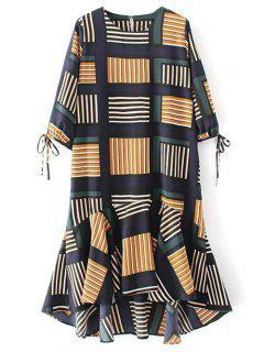 Karo Rüschensaum Midi-Kleid - Mehrfarbig L
