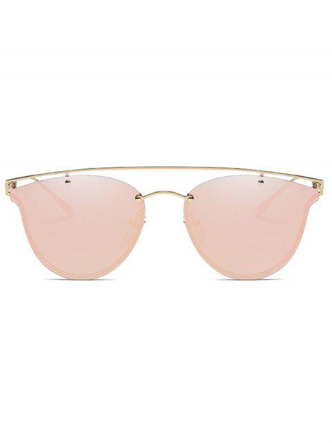 fancy Crossbar Metal Mirrored Butterfly Sunglasses - PINK  Mobile